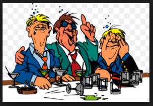 drunken men at a bar