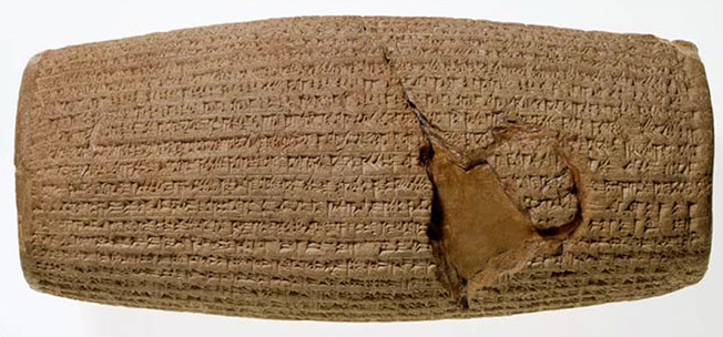 The Cylinder's text has traditionally been seen by biblical scholars as corroborative evidence of Cyrus' policy of the repatriation of the Jewish people following their Babylonian captivity[4] (an act that the Book of Ezra attributes to Cyrus[5]), as the text refers to the restoration of cult sanctuaries and repatriation of deported peoples.