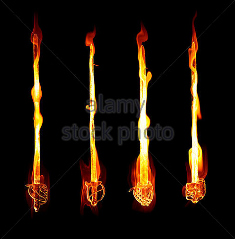 flaming swords